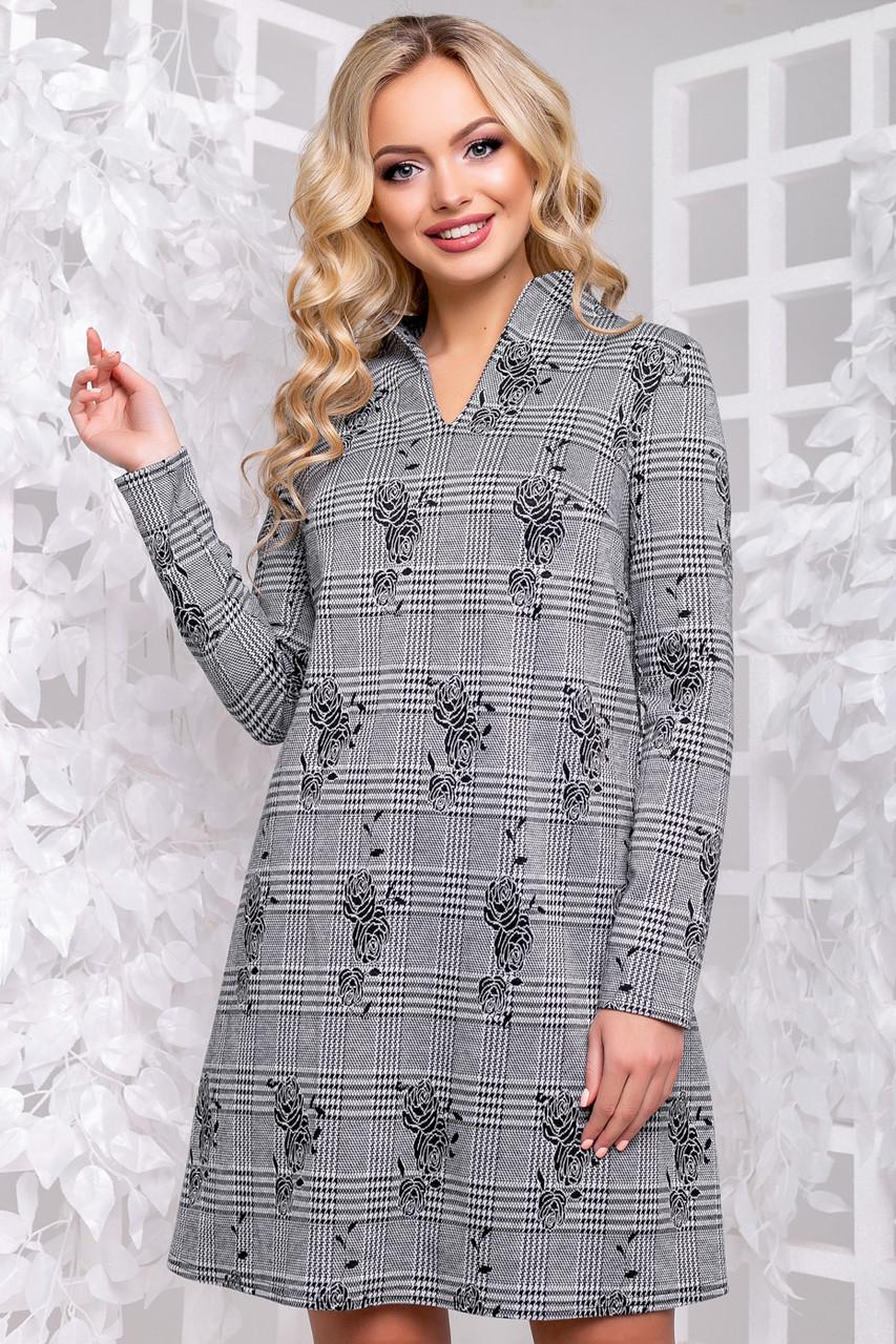 e7772d5643e1ab5 Универсальное женское платье (трикотаж, принт, длинные рукава, трапеция) -  интернет-