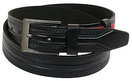 Мужской кожаный ремень под джинсы Skipper 1004-38 черный ДхШ: 133х3,8 см.