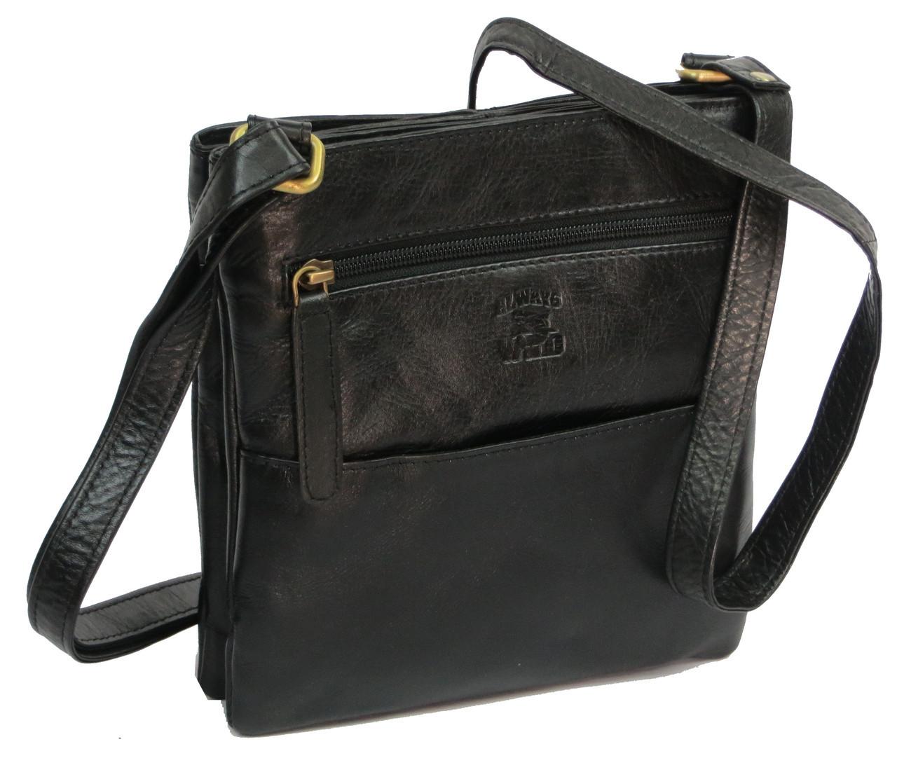 Мужская кожаная сумка Always Wild 108-CBH black, черная, фото 1