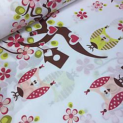 Лоскуток.  Ткань хлопковая с деревья сакуры и совы №068.  93*160 см