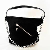 Удивительная женская сумочка из натуральной замши черного цвета OНM-093009, фото 1
