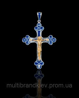 Крест серебряный синий