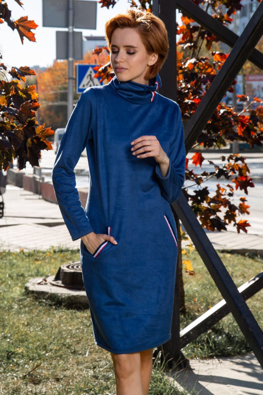 Замшевое женское платье с карманами