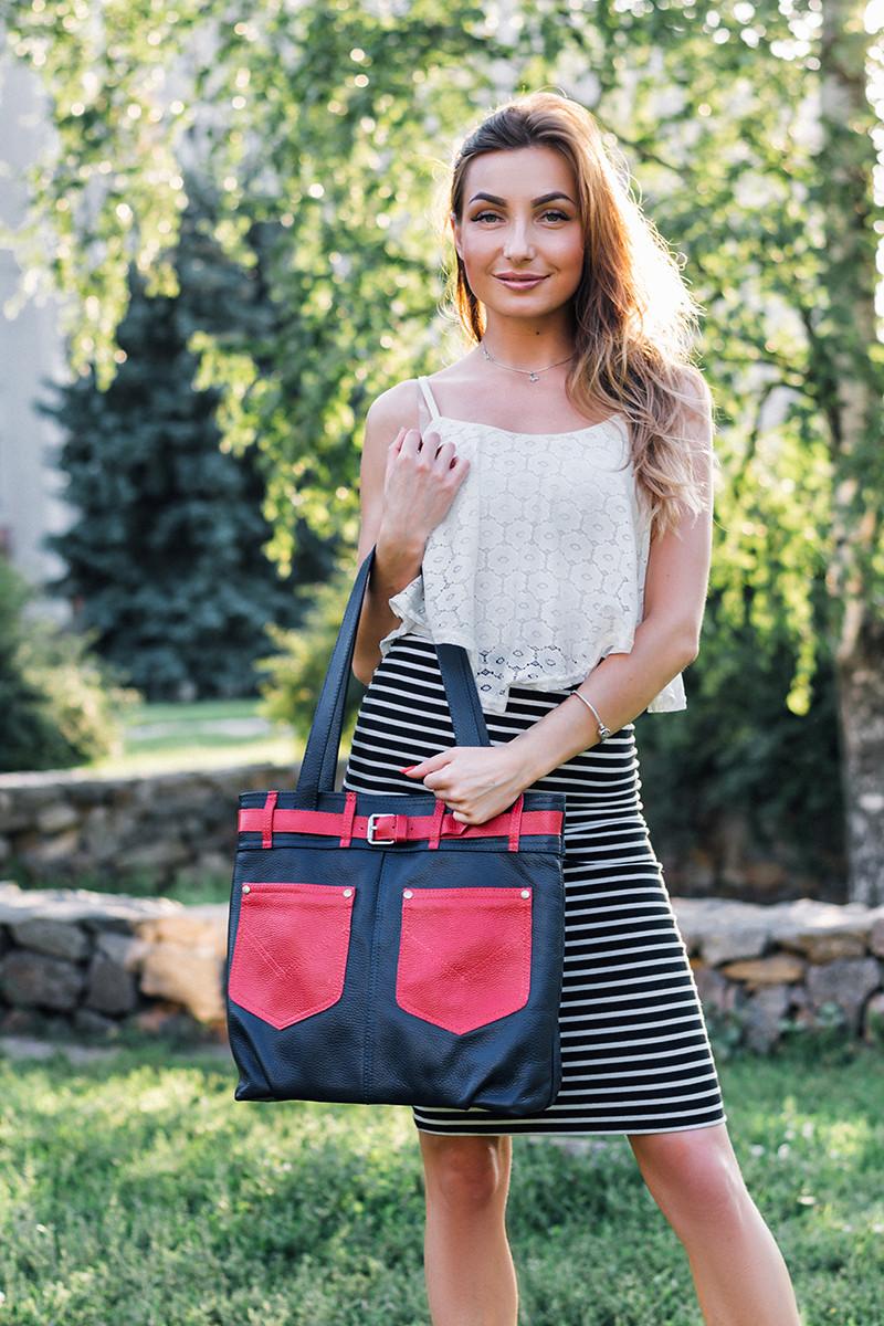 Женская кожаная сумка 24 синий флотар с красным 01240103-07