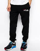 Утепленные модные спортивные штаны для парня Fila Фила  черные (РЕПЛИКА)
