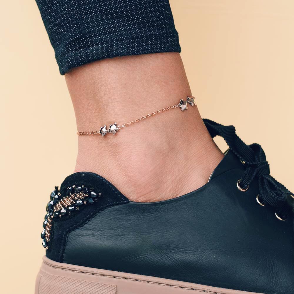 Золотой женский браслет на ногу гб01466