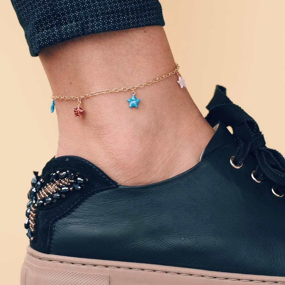 Золотой женский браслет на ногу с звёздочками гб01464