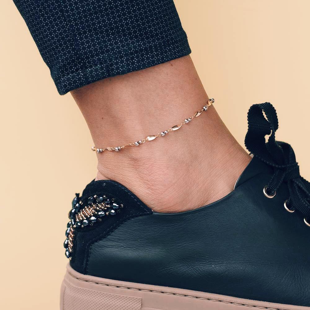 Золотой женский браслет на ногу гб01722