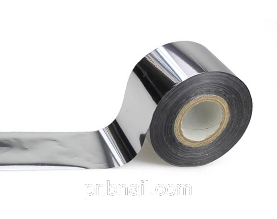 Фольга переводная глянцевая  серебро , 1 м