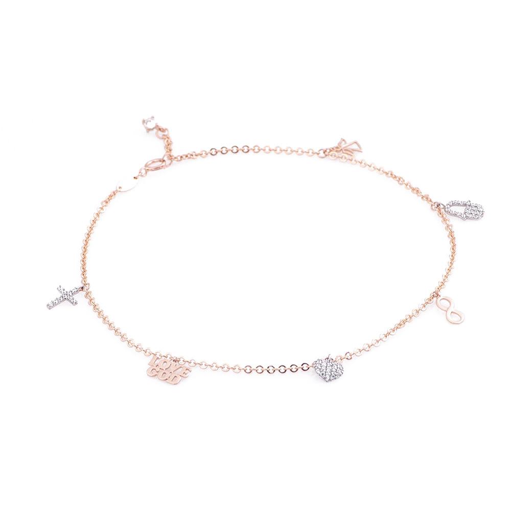 Золотой браслет на ногу с фианитами гб02637