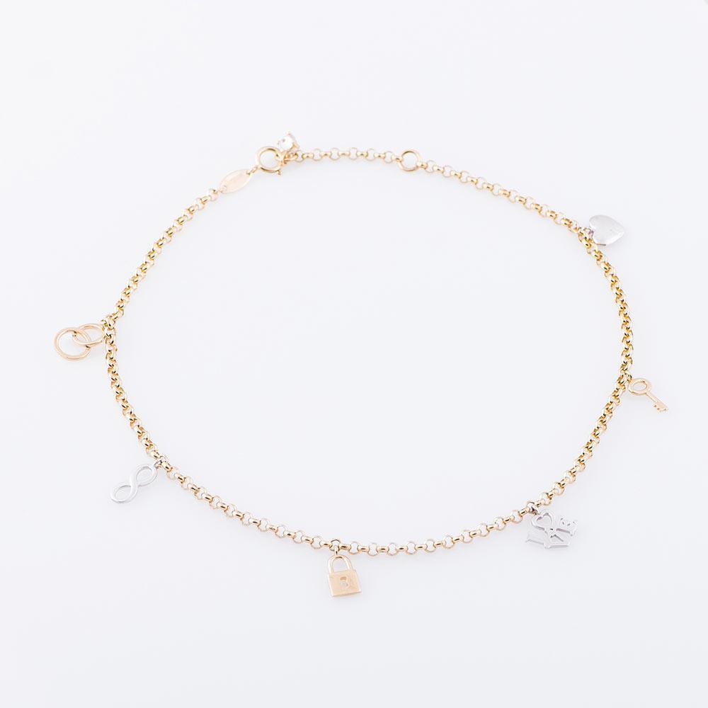 Золотой браслет на ногу (фианит) гб02746