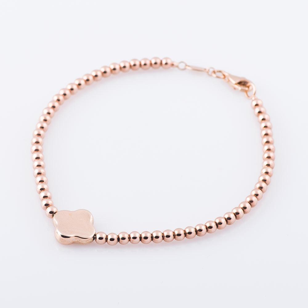 """Золотой женский браслет """"Клевер"""" гб02735"""