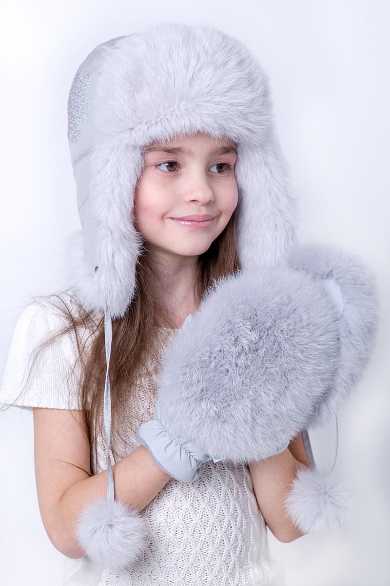 Зимняя Шапка-ушанка для девочки с натуральным мехом Кролика 12345    Светлый серый