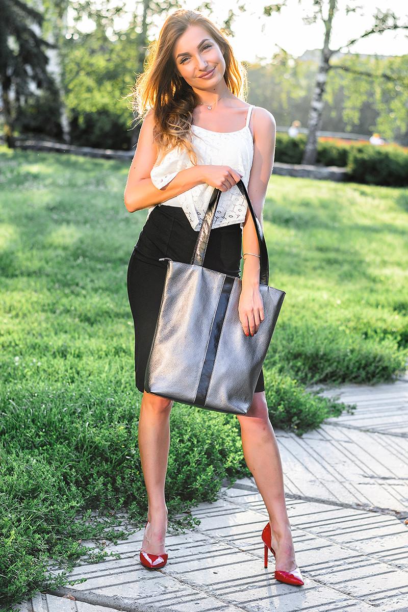 Женская сумка кожаная 27 никель/наплак 012701-0312-01
