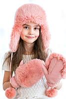 Зимняя Шапка-ушанка для девочки с натуральным мехом Кролика 12345  Пудра