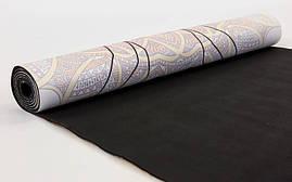 Коврик для йоги Замшевый каучуковый двухслойный 3мм Record FI-5662-24, фото 3