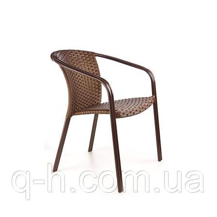 Стул плетеный из искусственного ротанга коллекции Bluz коричневый, 57,5х58х80см, фото 2