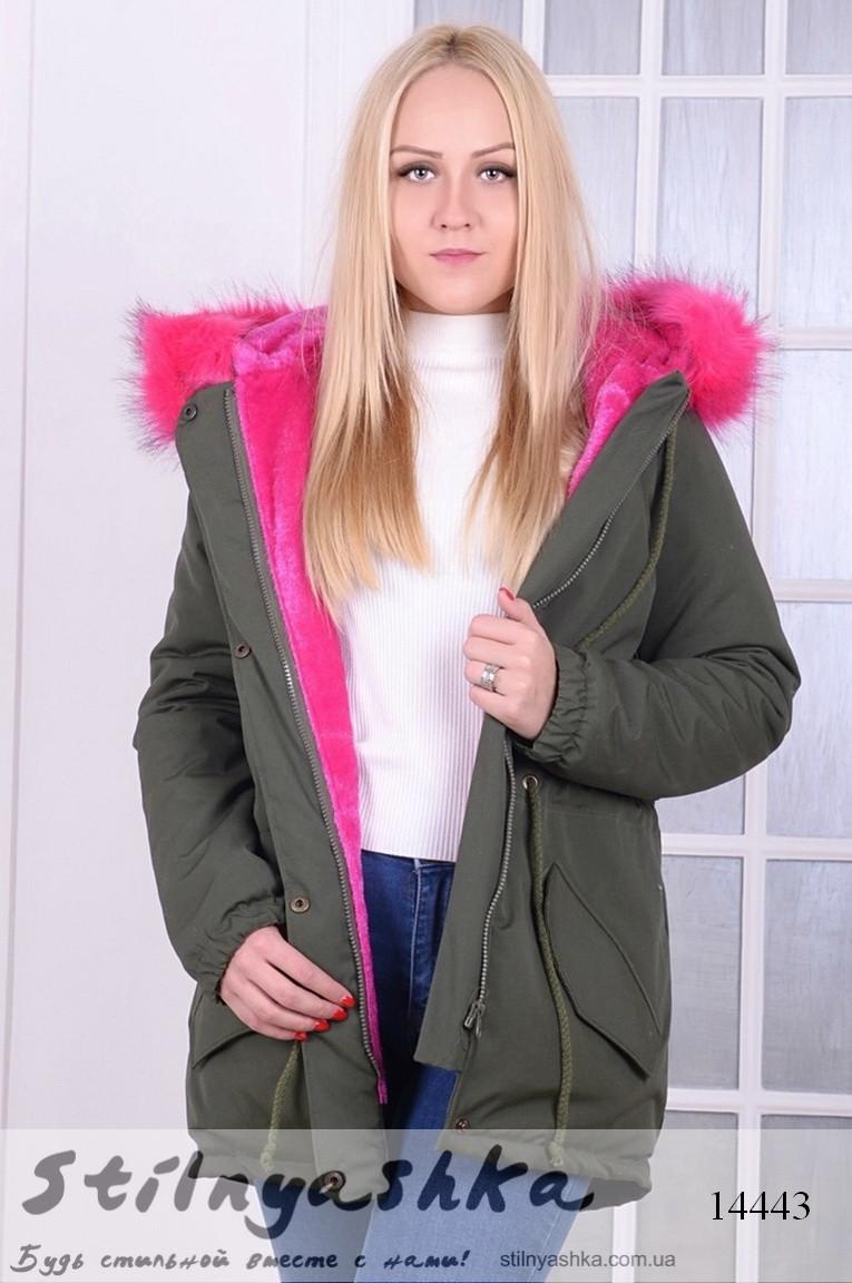 Женская Куртка-парка Хаки с Малиновой Опушкой — в Категории