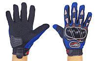 Мотоперчатки текстильные с закрытыми пальцами и протектором BIKER (р-р L-XL, синий)