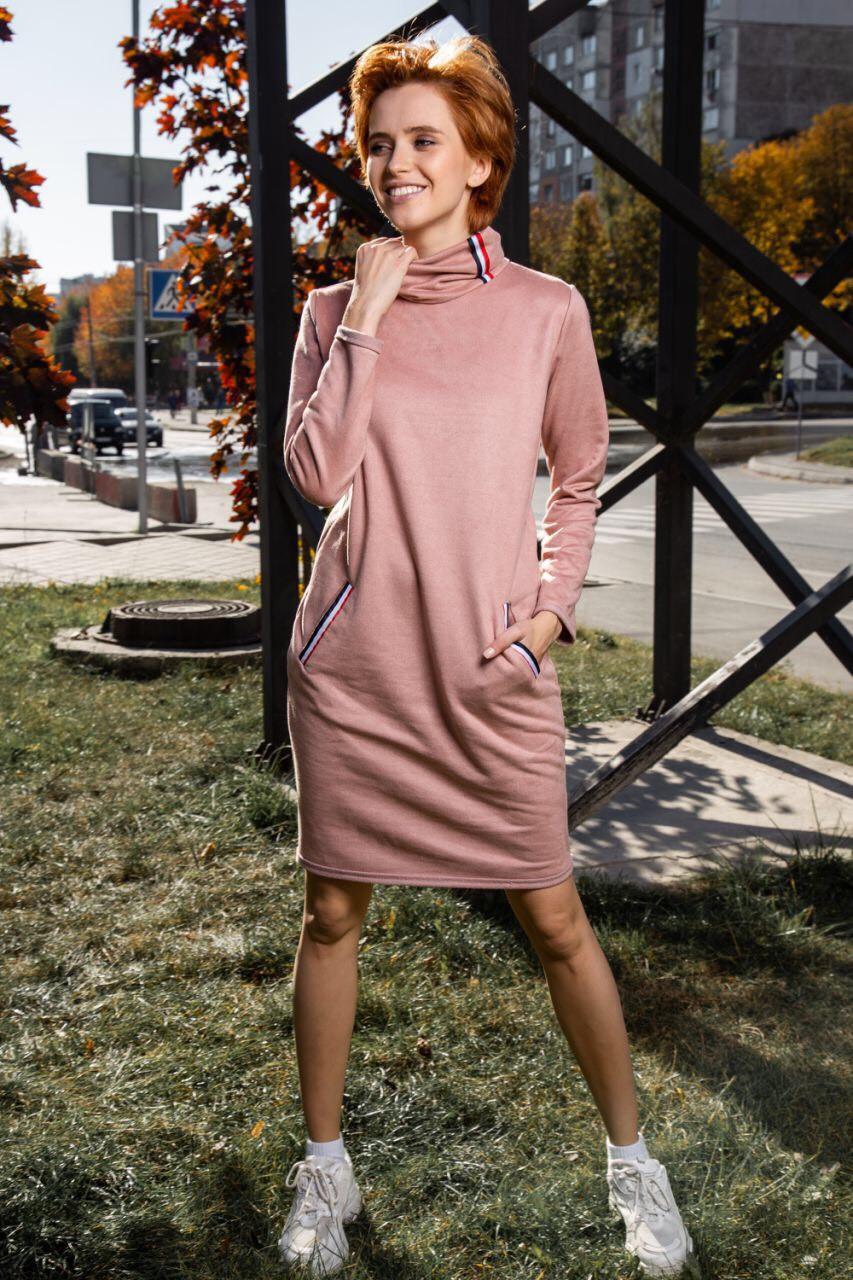 Женское замшевое молодежное платье с карманами 42,44,46,48