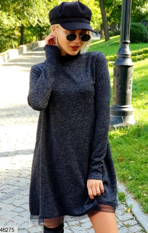 Осеннее платье короткое свободного кроя под горло длинные рукава ангора черное