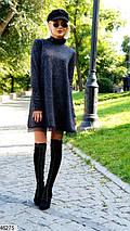 Осеннее платье короткое свободного кроя под горло длинные рукава ангора черное, фото 2