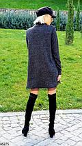 Осеннее платье короткое свободного кроя под горло длинные рукава ангора черное, фото 3