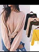 свитер со шнуровкой на талии, расцветки , фото 1