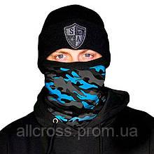 Утепленный зимний бафф - Aqua Military Camo.