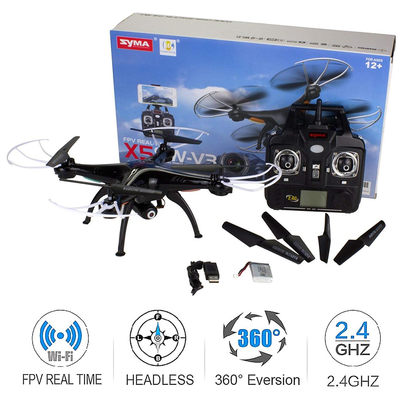 Квадрокоптер р/у Syma X5SW-V3 FPL с камерой WiFi (Черный)