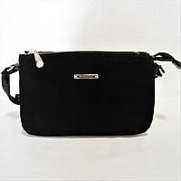 Шикарная женская сумочка черного цвета на плечо АТТ-077791 замша, фото 1