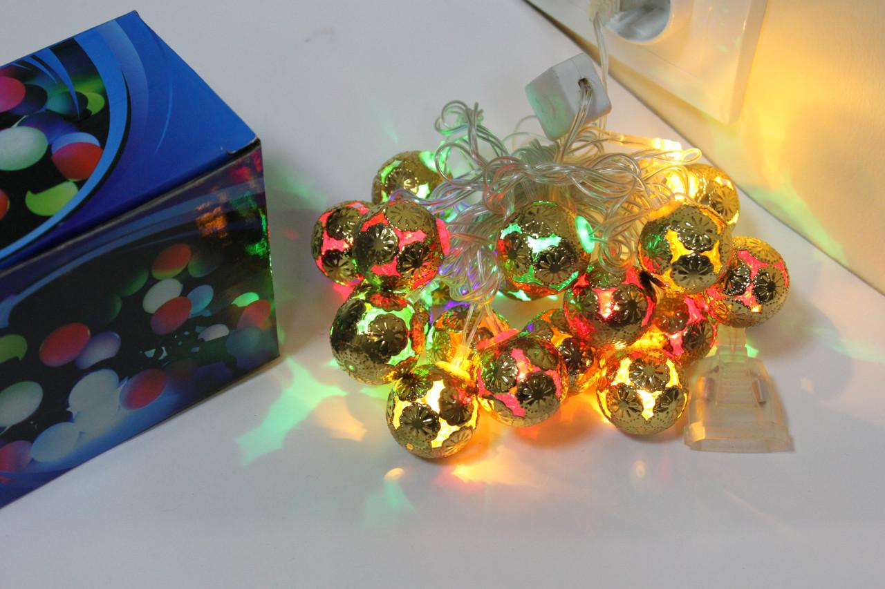 """Гирлянда Золото """"Сфера"""" LED 20 сфер"""