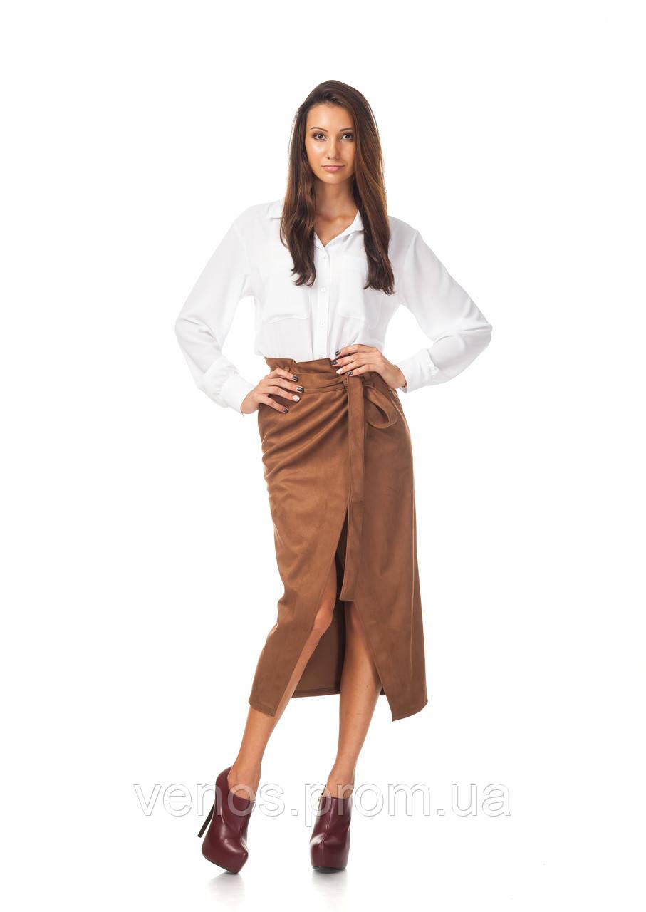 Стильная женская юбка взапах с поясом. Ю099