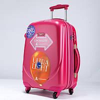 Ударостійкий середній валізу Ambassador Classic A8503 Малиновий, фото 1