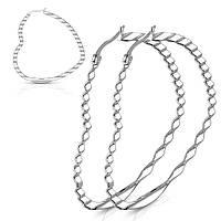 Сережки з медичної сталі у вигляді великих сердець Spikes SE3567S, діаметр 5 см, фото 1