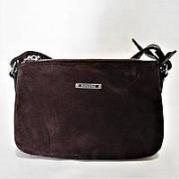 Шикарная женская сумочка коричневого цвета на плечо АТТ-077700 замша, фото 1