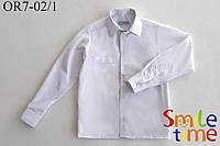 Белая рубашка для мальчика р.128,134,140,146,152 с длинным рукавом SmileTime