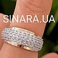 Серебряный комплект: серьги и кольцо с золотом и фианитами, фото 7