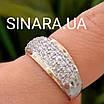 Серебряный комплект: серьги и кольцо с золотом и фианитами, фото 6