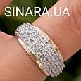 Серебряный комплект: серьги и кольцо с золотом и фианитами, фото 3