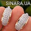 Серебряный комплект: серьги и кольцо с золотом и фианитами, фото 5
