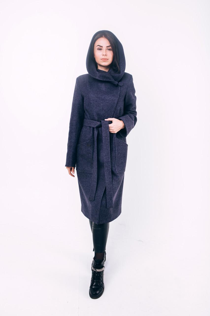 Пальто длинное с капюшоном со скидкой синее Д 289