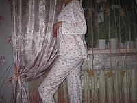 Пижама женская 100% хлопок пр-во Узбекистан начес размер XXXL белая в розах