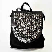 Замшевый женский рюкзак черного цвета EКW-045592