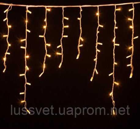 Гирлянда уличная бахрома DELUX ICICLE 120LED  2*0,9м тепл.белая (бел. кабель)