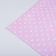 Отрез ткани №165а  с белым горошком 1 см на светло-розовом фоне, размер 50*160