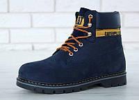 """Ботинки мужские зимние замшевые с мехом Cat Caterpillar """"Темно-синие"""" размер 41-45, фото 1"""