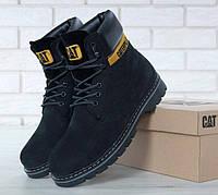"""Ботинки зимние замшевые с мехом Cat Caterpillar """"Черные"""" размер 36-45"""