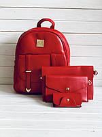 Рюкзак женский + клатч, кошелёк и визитница набор 4в1 красный экокожа, фото 1