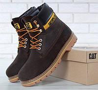 """Ботинки мужские зимние замшевые с мехом Cat Caterpillar """"Коричневые"""" размер 41-45, фото 1"""